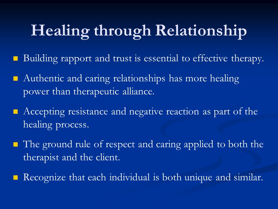 Building rapport and trust is essential to effective therapy.