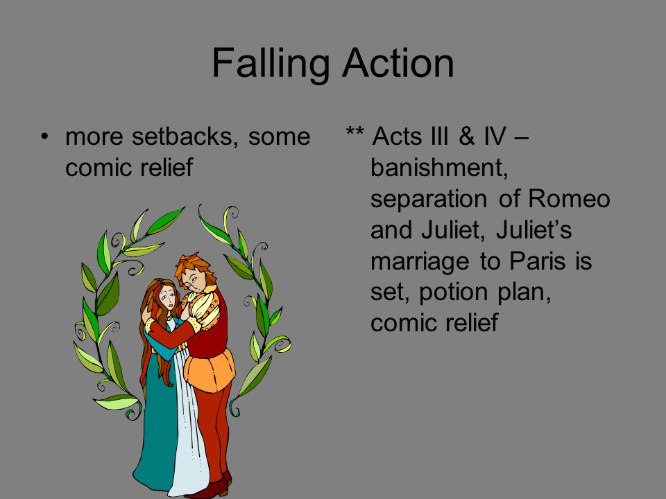Falling Action more setbacks, some comic relief ** Acts III & IV – banishment, separation of Romeo and Juliet, Juliet's marriage to Paris is set, poti