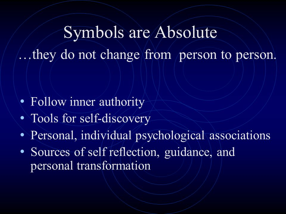 Symbols are Absolute …they do not change from person to person.