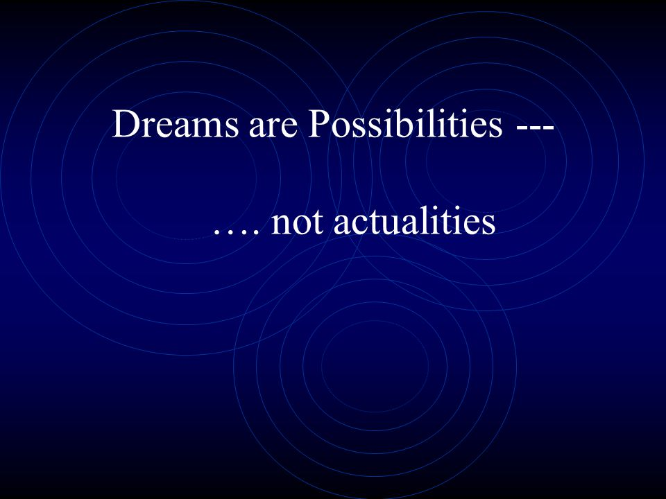 Dreams are Possibilities --- …. not actualities