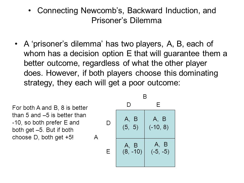 Connecting Newcomb's, Backward Induction, and Prisoner's Dilemma A 'prisoner's dilemma' has two players, A, B, each of whom has a decision option E th