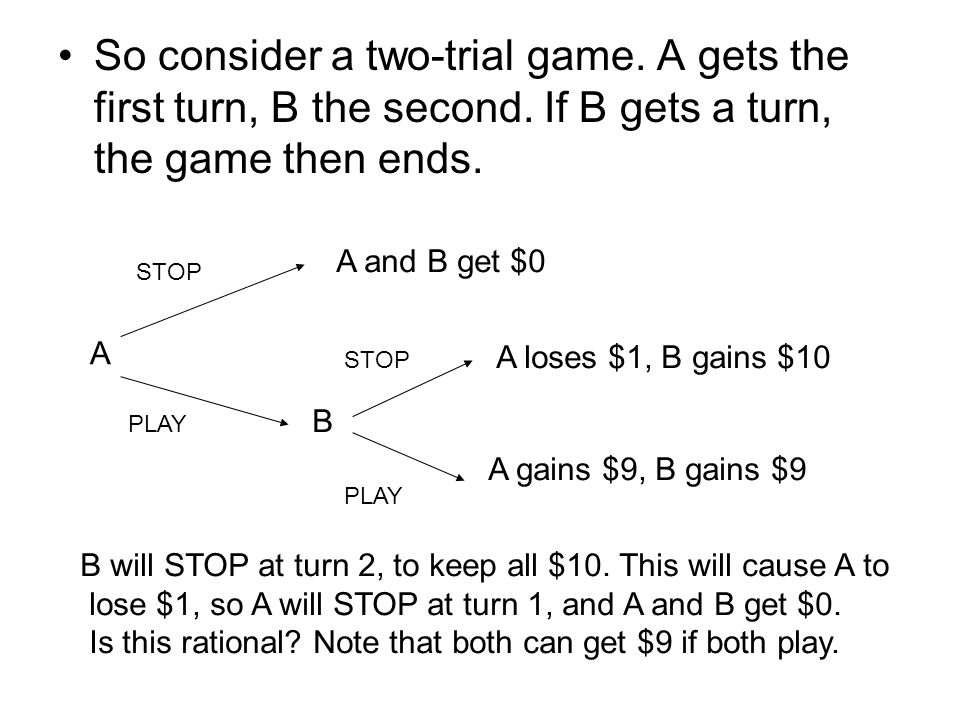 So consider a two-trial game. A gets the first turn, B the second.
