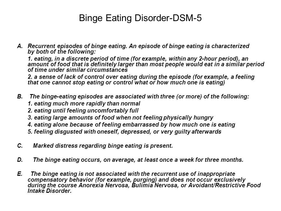 Binge Eating Disorder-DSM-5 A. Recurrent episodes of binge eating. An episode of binge eating is characterized by both of the following: 1. eating, in