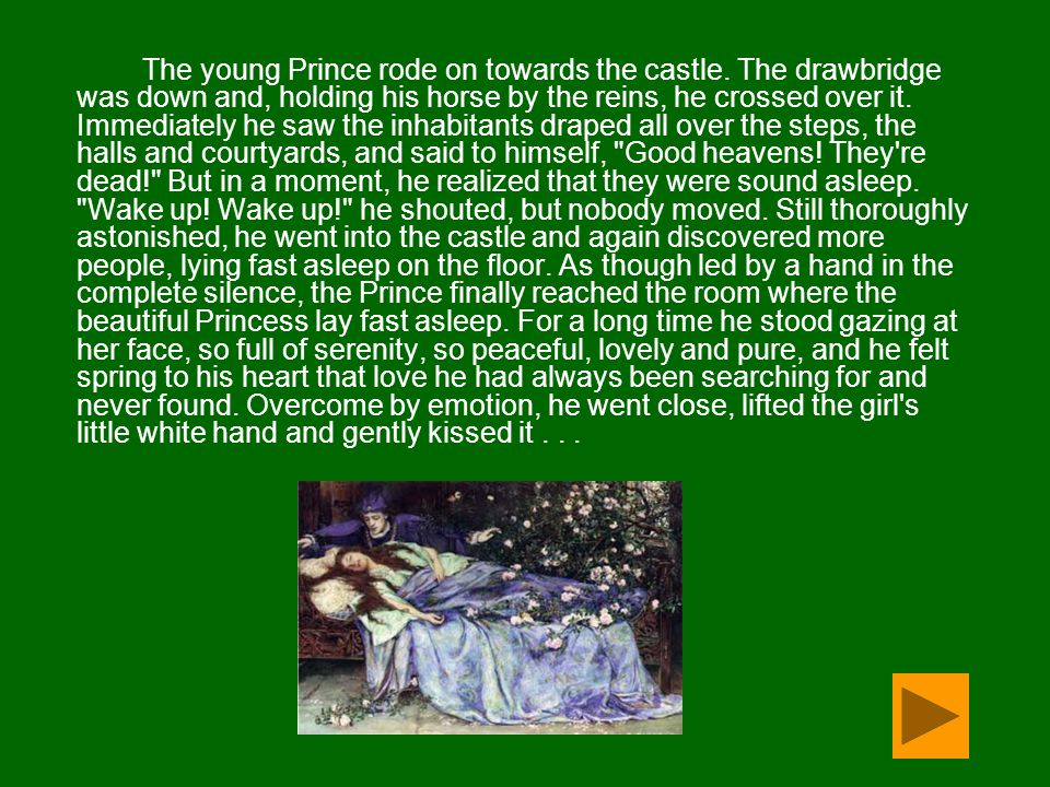 The young Prince rode on towards the castle. The drawbridge was down and, holding his horse by the reins, he crossed over it. Immediately he saw the i