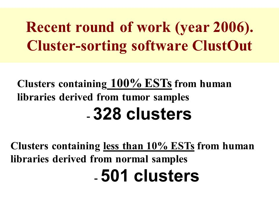 Recent round of work (year 2006). Cluster-sorting software ClustOut Clusters containing 100% ESTs from human libraries derived from tumor samples - 32