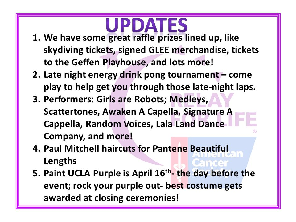 1.We have some great raffle prizes lined up, like skydiving tickets, signed GLEE merchandise, tickets to the Geffen Playhouse, and lots more.