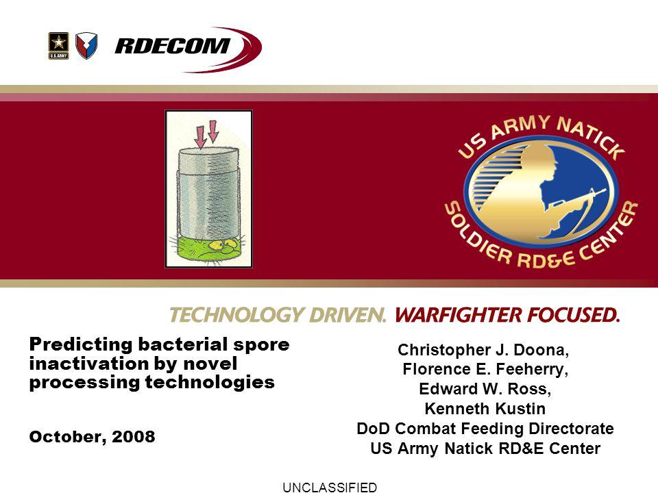UNCLASSIFIED FoodpH E.coli 60,000 psi and 50 º C 0 min 2 min 4 min B.