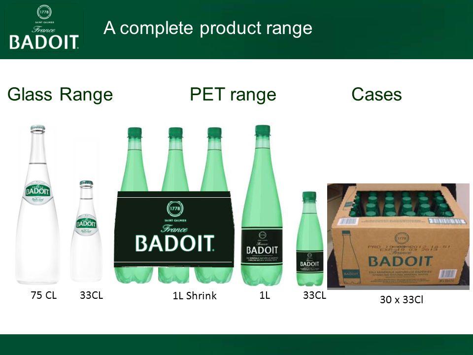 A complete product range 30 x 33Cl 75 CL33CL 1L 33CL 1L Shrink Glass RangePET rangeCases