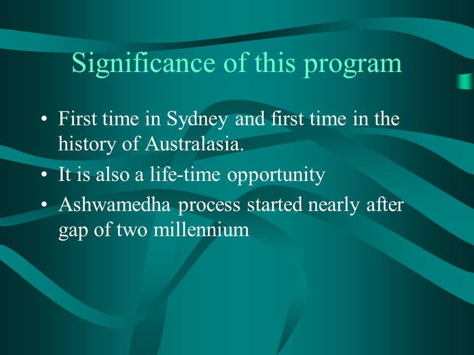 Significance of this program First time in Sydney and first time in the history of Australasia.