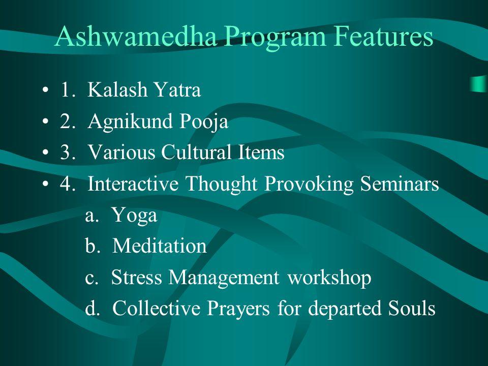Ashwamedha Program Features 1. Kalash Yatra 2. Agnikund Pooja 3.