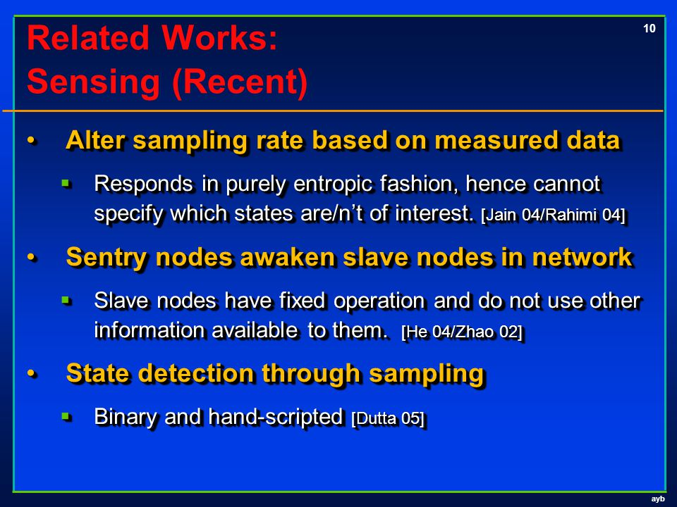 ayb 10 Related Works: Sensing (Recent) Alter sampling rate based on measured dataAlter sampling rate based on measured data  Responds in purely entro