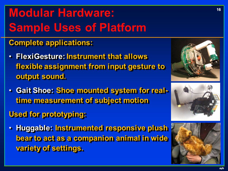 ayb 16 Modular Hardware: Sample Uses of Platform Complete applications: FlexiGesture: Instrument that allows flexible assignment from input gesture to output sound.FlexiGesture: Instrument that allows flexible assignment from input gesture to output sound.