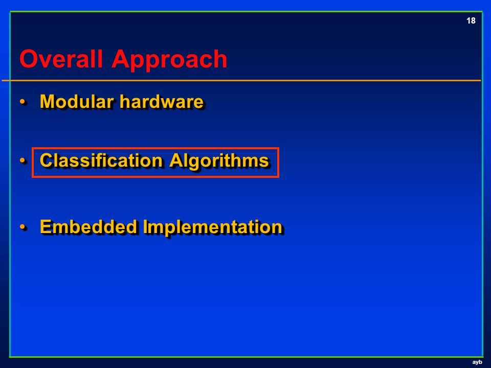 ayb 18 Overall Approach Modular hardware Modular hardware Classification Algorithms Classification Algorithms Embedded Implementation Embedded Impleme