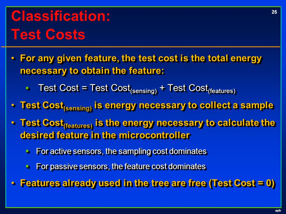 ayb 25 Classification: Test Costs For any given feature, the test cost is the total energy necessary to obtain the feature:For any given feature, the