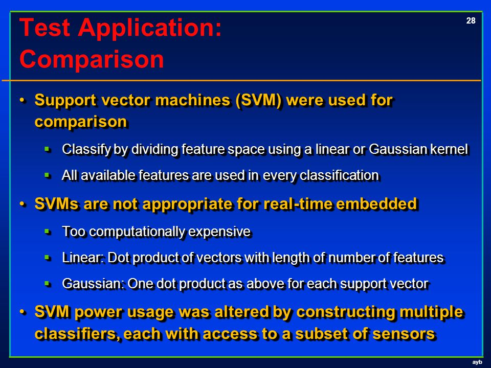 ayb 28 Test Application: Comparison Support vector machines (SVM) were used for comparisonSupport vector machines (SVM) were used for comparison  Classify by dividing feature space using a linear or Gaussian kernel  All available features are used in every classification SVMs are not appropriate for real-time embeddedSVMs are not appropriate for real-time embedded  Too computationally expensive  Linear: Dot product of vectors with length of number of features  Gaussian: One dot product as above for each support vector SVM power usage was altered by constructing multiple classifiers, each with access to a subset of sensorsSVM power usage was altered by constructing multiple classifiers, each with access to a subset of sensors Support vector machines (SVM) were used for comparisonSupport vector machines (SVM) were used for comparison  Classify by dividing feature space using a linear or Gaussian kernel  All available features are used in every classification SVMs are not appropriate for real-time embeddedSVMs are not appropriate for real-time embedded  Too computationally expensive  Linear: Dot product of vectors with length of number of features  Gaussian: One dot product as above for each support vector SVM power usage was altered by constructing multiple classifiers, each with access to a subset of sensorsSVM power usage was altered by constructing multiple classifiers, each with access to a subset of sensors