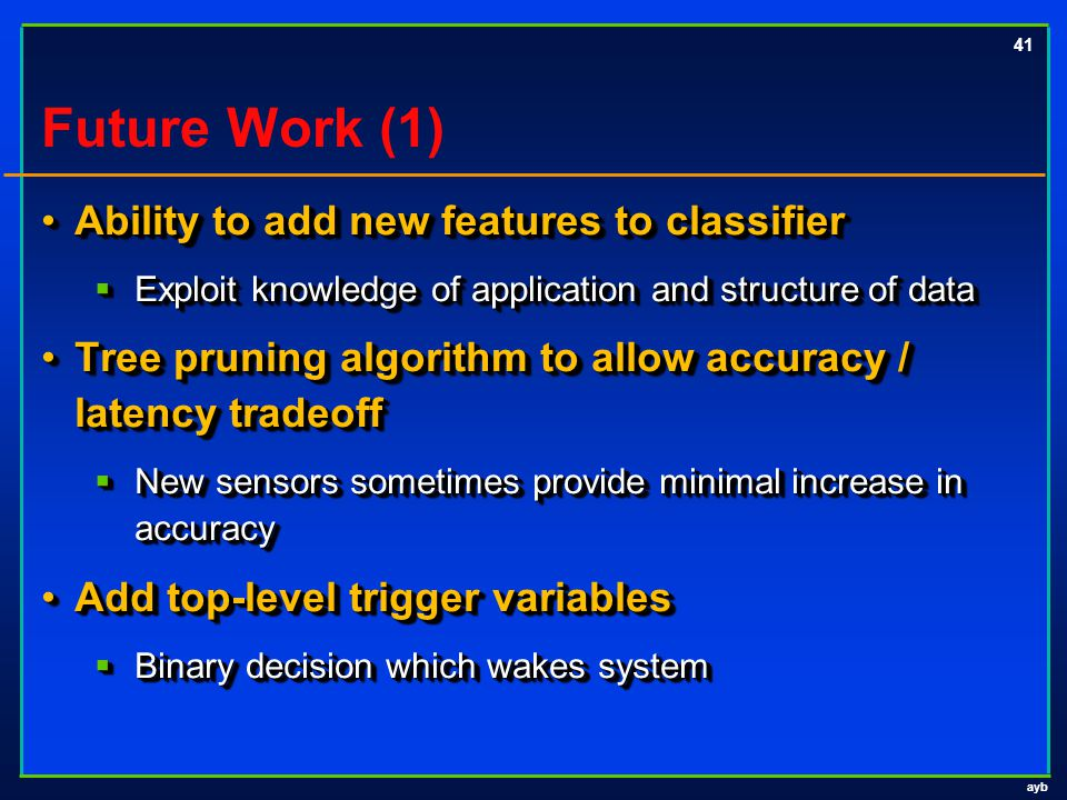 ayb 41 Future Work (1) Ability to add new features to classifierAbility to add new features to classifier  Exploit knowledge of application and struc