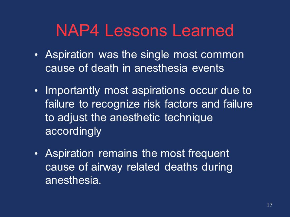 NAP4 Lessons Learned Aspiration was the single most common cause of death in anesthesia events Importantly most aspirations occur due to failure to recognize risk factors and failure to adjust the anesthetic technique accordingly Aspiration remains the most frequent cause of airway related deaths during anesthesia.