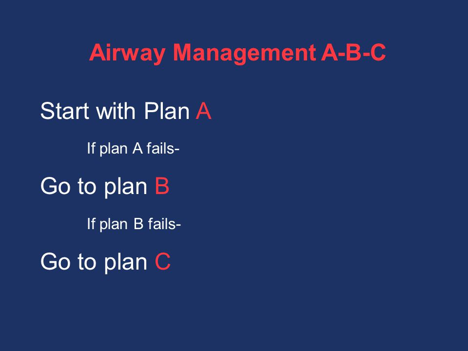 Airway Management A-B-C Start with Plan A If plan A fails- Go to plan B If plan B fails- Go to plan C