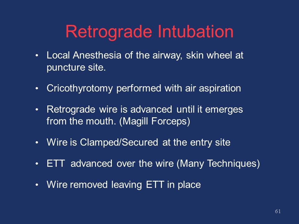 Retrograde Intubation Local Anesthesia of the airway, skin wheel at puncture site.