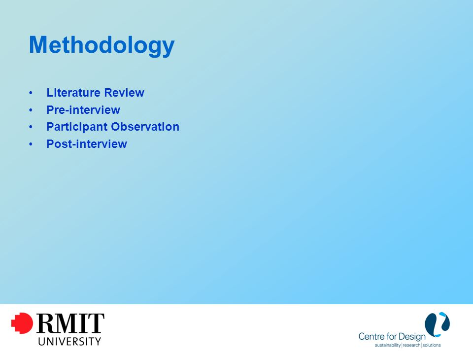 Methodology Literature Review Pre-interview Participant Observation Post-interview