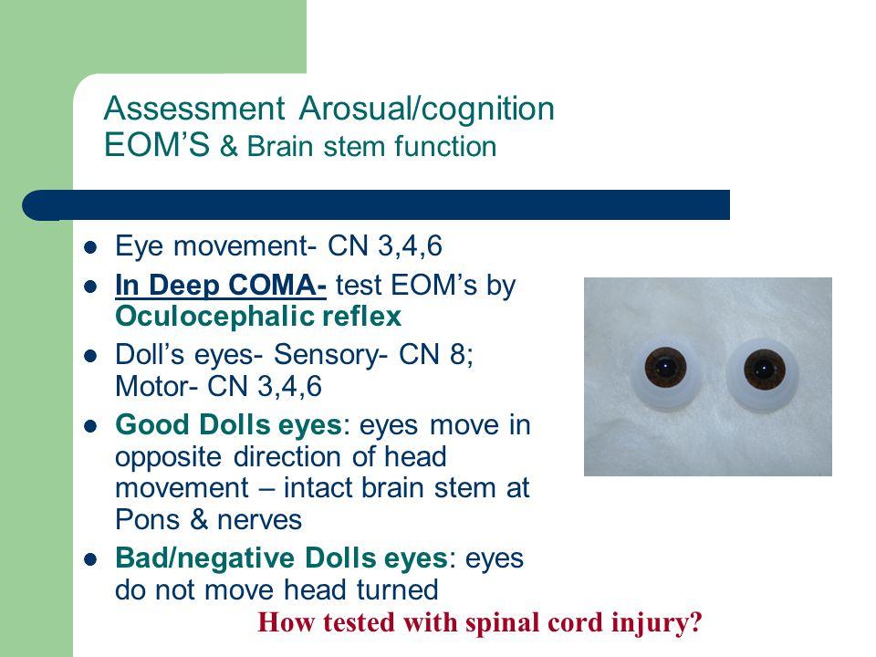Assessment Arosual/cognition EOM'S & Brain stem function Eye movement- CN 3,4,6 In Deep COMA- test EOM's by Oculocephalic reflex Doll's eyes- Sensory-