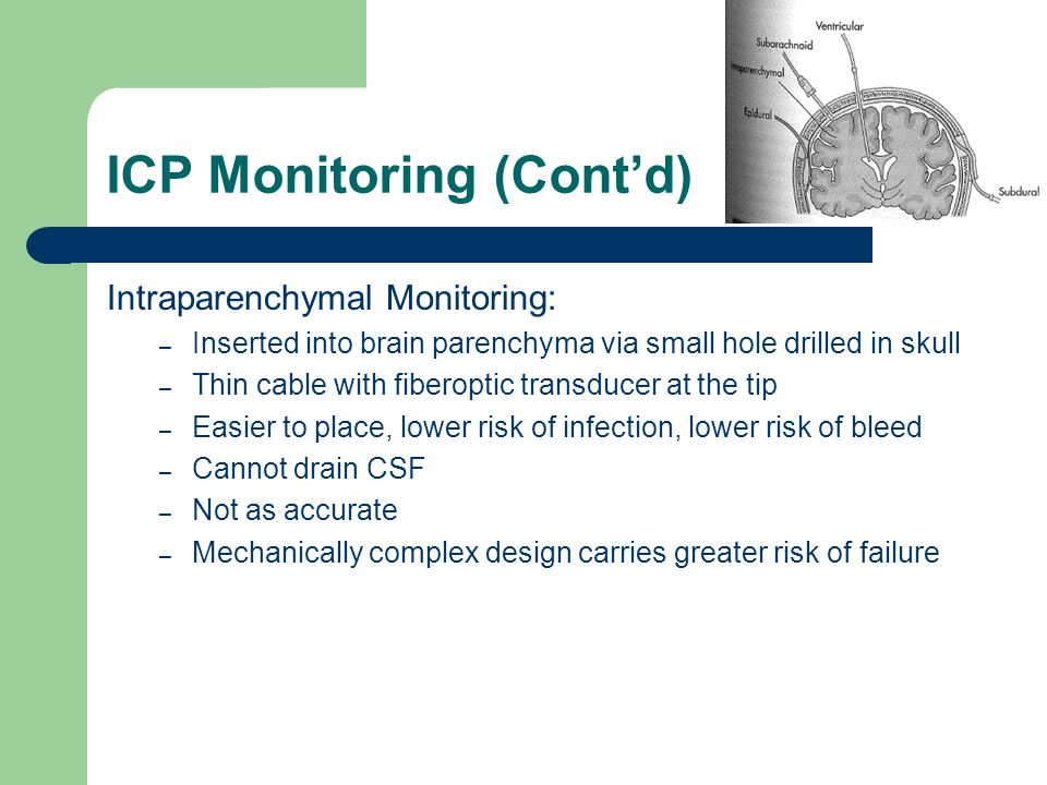 ICP Monitoring (Cont'd) Intraparenchymal Monitoring: – Inserted into brain parenchyma via small hole drilled in skull – Thin cable with fiberoptic tra
