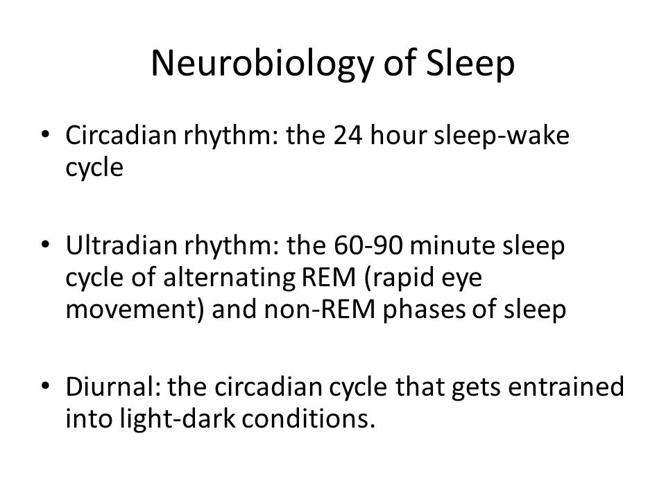 Neurobiology of Sleep Circadian rhythm: the 24 hour sleep-wake cycle Ultradian rhythm: the 60-90 minute sleep cycle of alternating REM (rapid eye movement) and non-REM phases of sleep Diurnal: the circadian cycle that gets entrained into light-dark conditions.