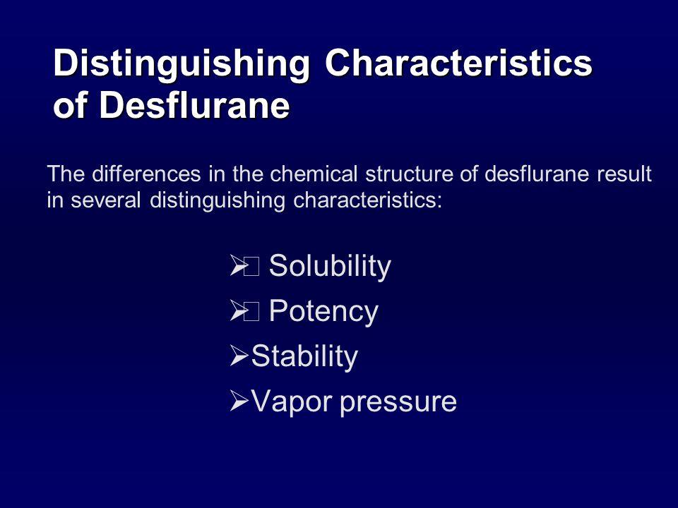 O Desflurane Chemistry Desflurane: fluorine atom replaces chlorine atom on the alpha ethyl carbon of isoflurane Isoflurane F F F F Cl H CCCOHF Desflurane H F F F F F H CCCF BrF 3