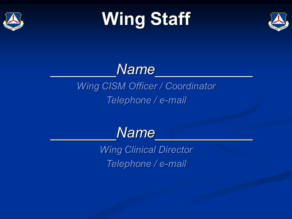 ________Name____________ Wing CISM Officer / Coordinator Telephone / e-mail ________Name____________ Wing Clinical Director Telephone / e-mail Wing St