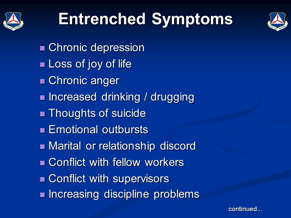 Entrenched Symptoms Chronic depression Chronic depression Loss of joy of life Loss of joy of life Chronic anger Chronic anger Increased drinking / dru