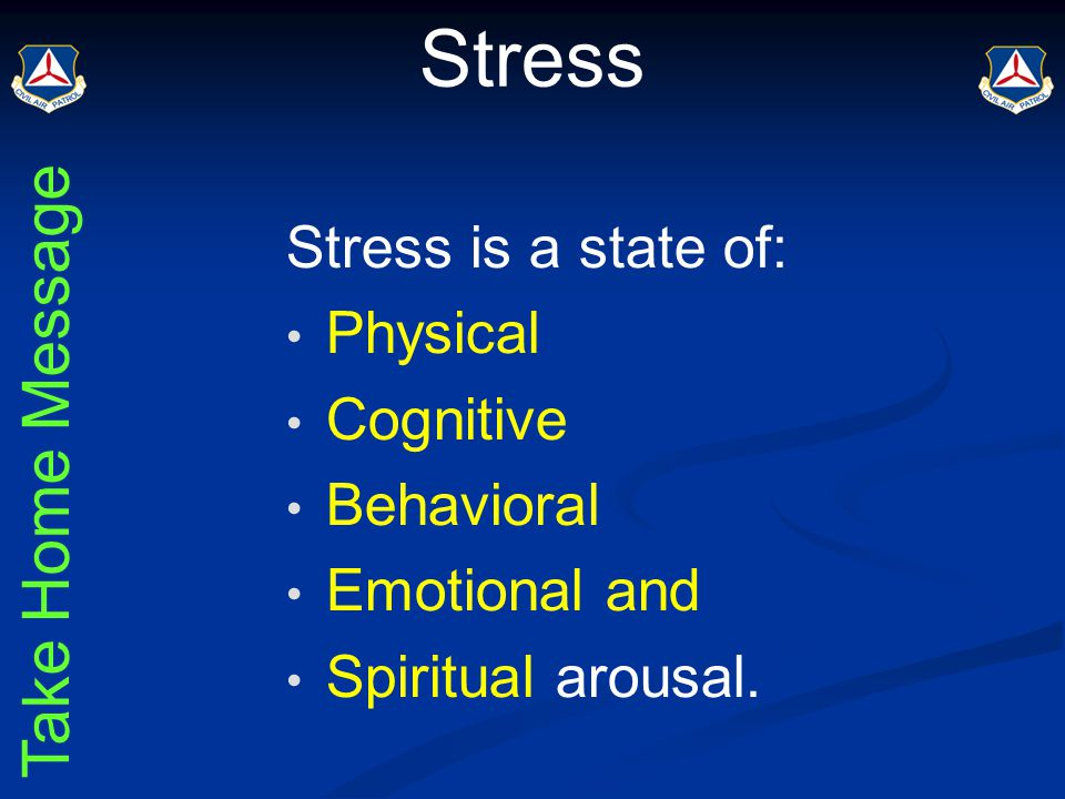 Cumulative Stress A chronic state of disturbing stress which can cause physical & changes in personality over time.