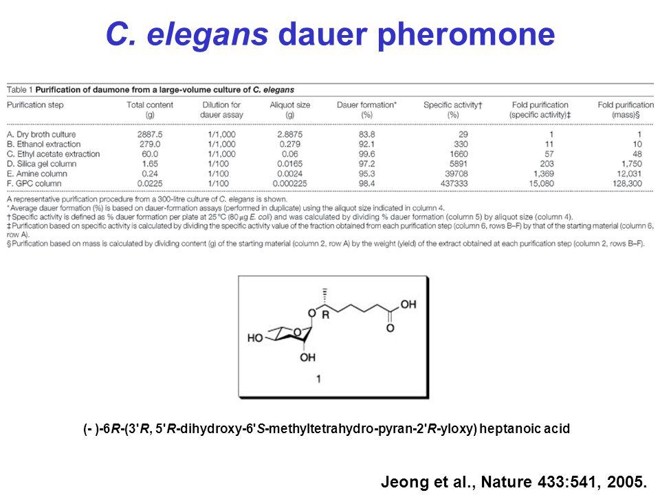 Jeong et al., Nature 433:541, 2005. (- )-6R-(3'R, 5'R-dihydroxy-6'S-methyltetrahydro-pyran-2'R-yloxy) heptanoic acid C. elegans dauer pheromone