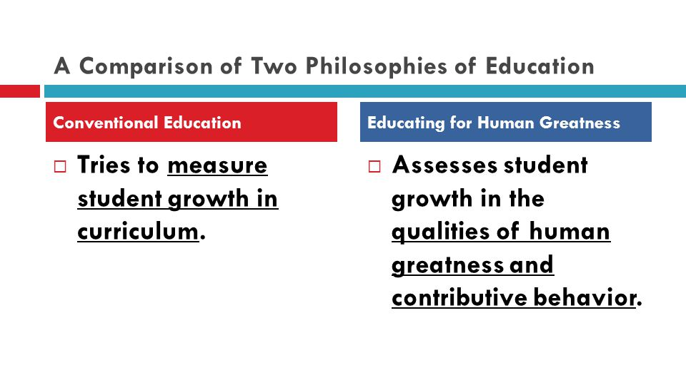 A Comparison of Two Philosophies of Education  Tries to measure student growth in curriculum.