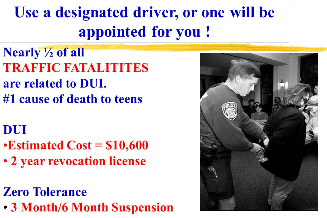 Use a designated driver, or one will be appointed for you .