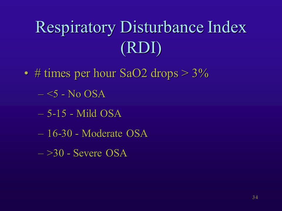 34 Respiratory Disturbance Index (RDI) # times per hour SaO2 drops > 3%# times per hour SaO2 drops > 3% –<5 - No OSA –5-15 - Mild OSA –16-30 - Moderat