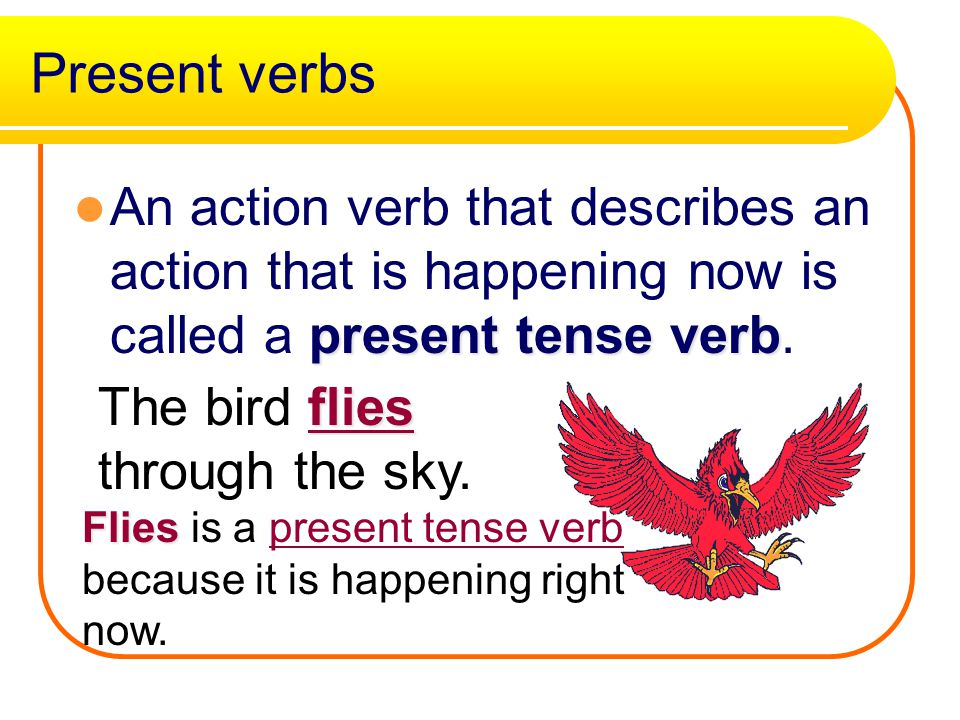 Yes, that word is an action verb! Try another sentence Move On
