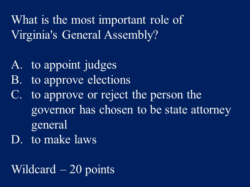 What is the most important role of Virginia s General Assembly.