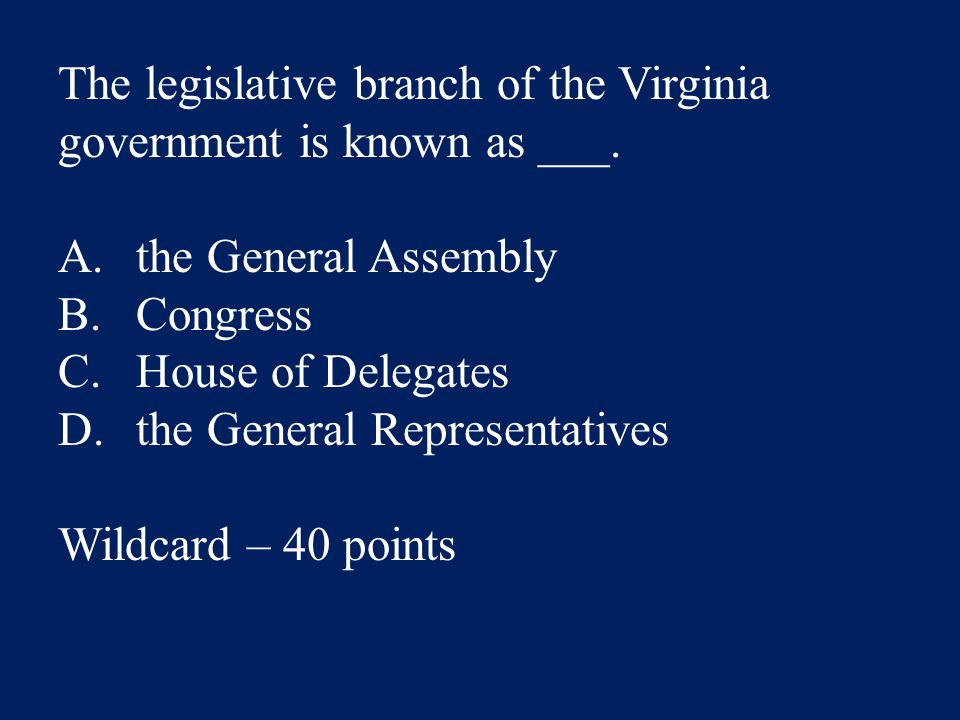 The legislative branch of the Virginia government is known as ___.