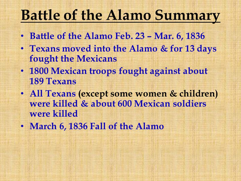 Battle of the Alamo Summary Battle of the Alamo Feb.