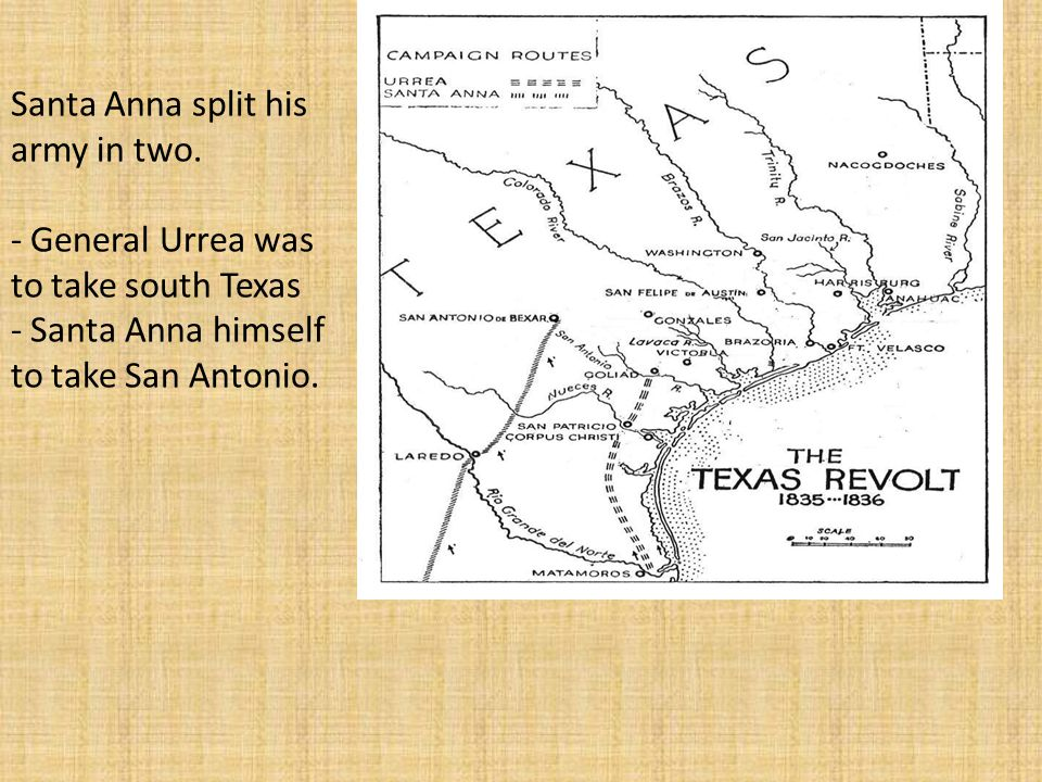 San Patrico General Urrea was the first to run into Texas Rebels.