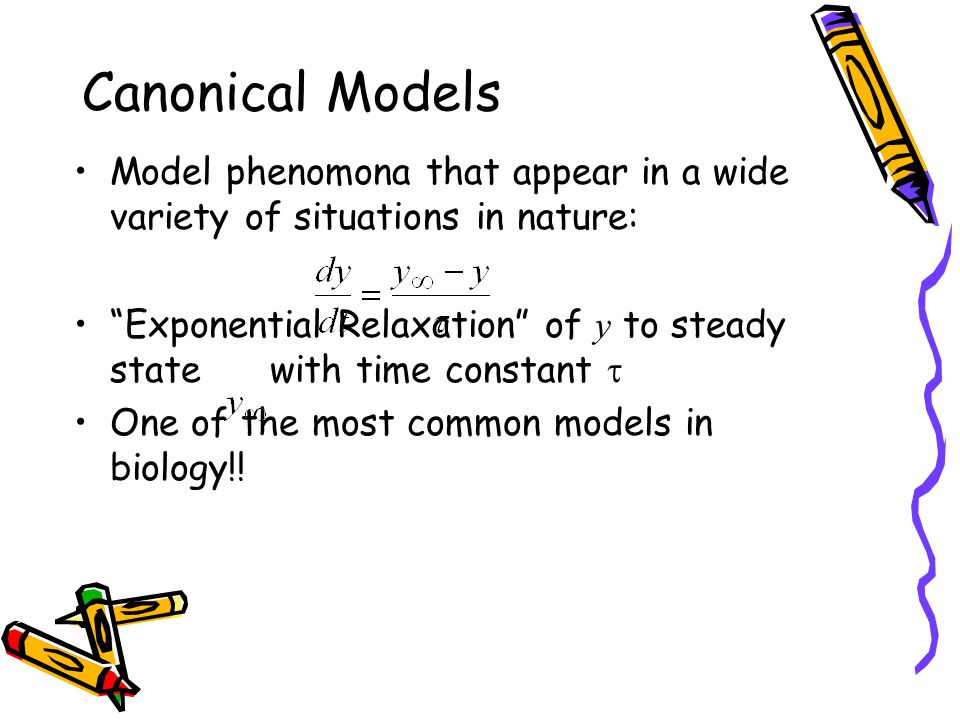 Model phenomona that appear in a wide variety of situations in nature: Exponential Relaxation of y to steady state with time constant  One of the most common models in biology!.