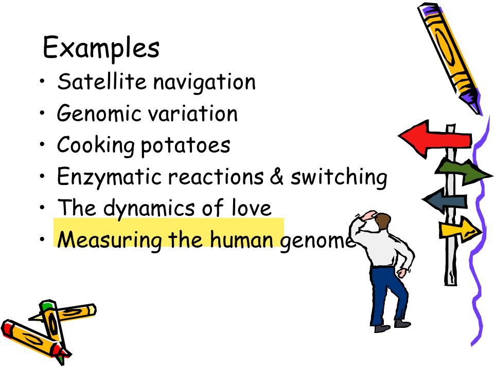 Satellite navigation Genomic variation Cooking potatoes Enzymatic reactions & switching The dynamics of love Measuring the human genome Examples