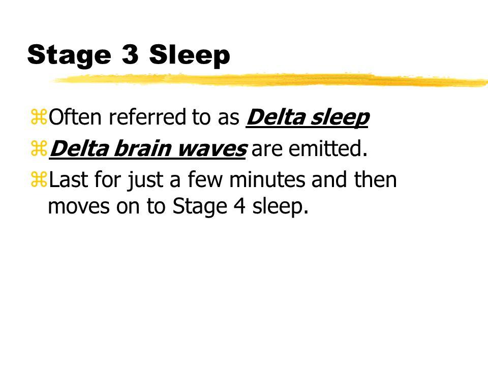 Stage 3 Sleep zOften referred to as Delta sleep zDelta brain waves are emitted.