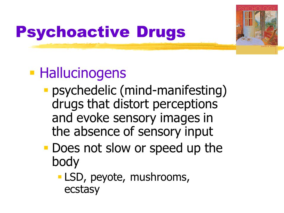Psychoactive Drugs  Hallucinogens  psychedelic (mind-manifesting) drugs that distort perceptions and evoke sensory images in the absence of sensory input  Does not slow or speed up the body  LSD, peyote, mushrooms, ecstasy