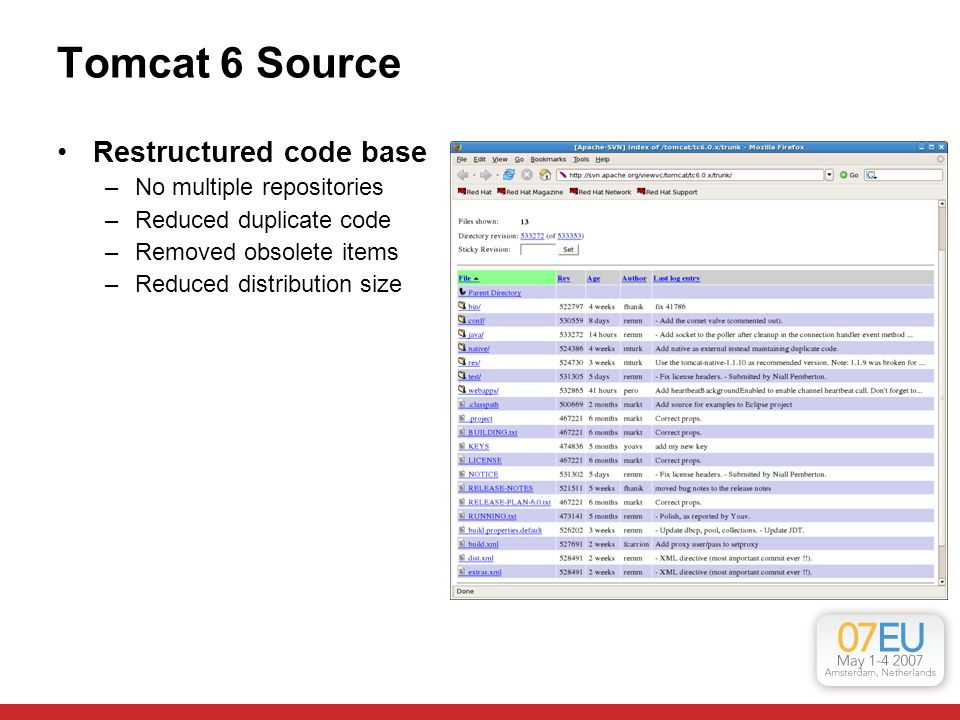 Tomcat 6 Source Restructured code base –No multiple repositories –Reduced duplicate code –Removed obsolete items –Reduced distribution size