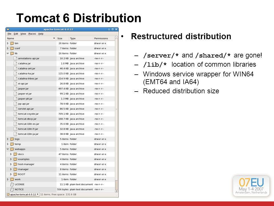 Tomcat 6 Distribution Restructured distribution – /server/* and /shared/* are gone.