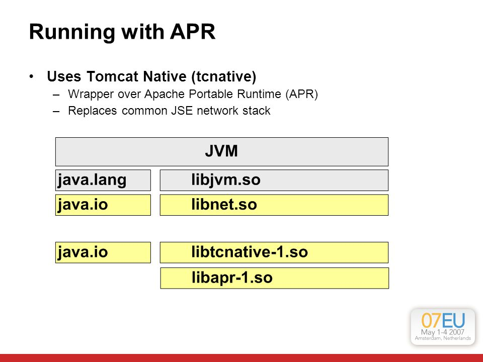 Running with APR Uses Tomcat Native (tcnative) –Wrapper over Apache Portable Runtime (APR) –Replaces common JSE network stack