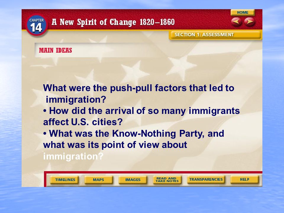 What were the push-pull factors that led to immigration.