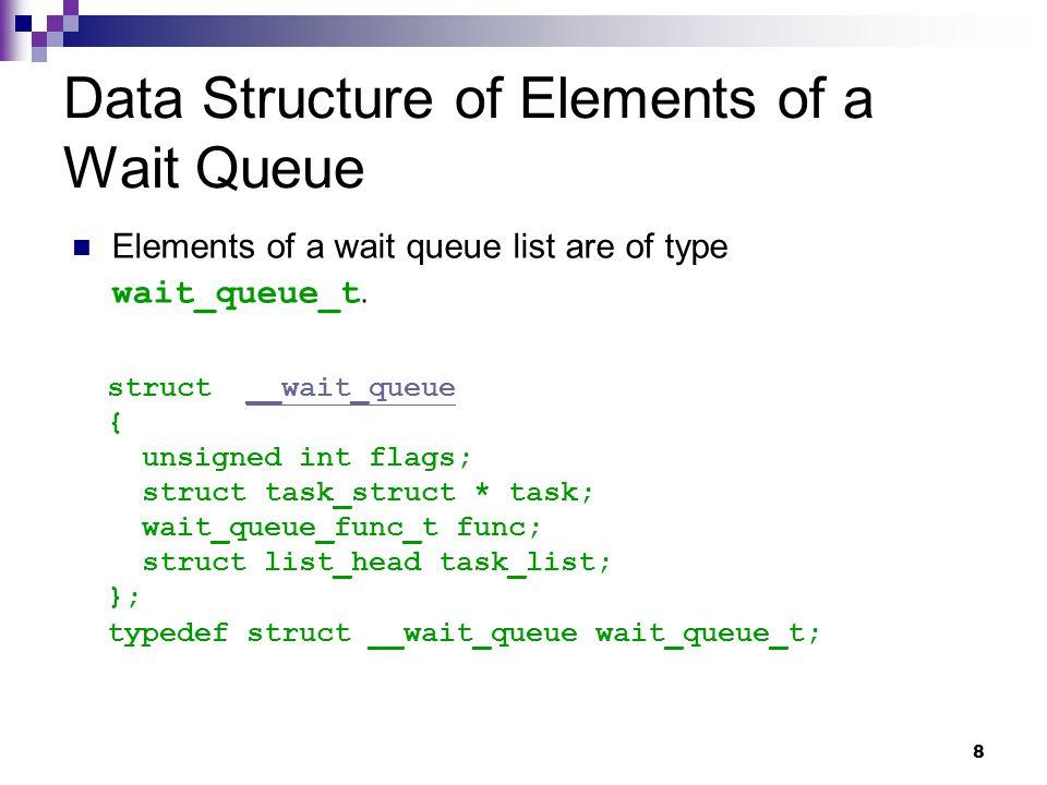19 flags task func task_list next prev Example of a Wait Queue lock task_list next prev flags task func task_list next prev process descriptor process descriptor disk_wait_queue