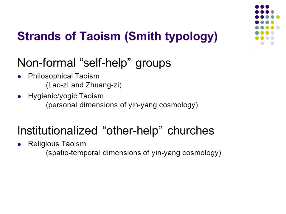 Strands of Taoism (Smith typology) Non-formal self-help groups Philosophical Taoism (Lao-zi and Zhuang-zi) Hygienic/yogic Taoism (personal dimensions of yin-yang cosmology) Institutionalized other-help churches Religious Taoism (spatio-temporal dimensions of yin-yang cosmology)